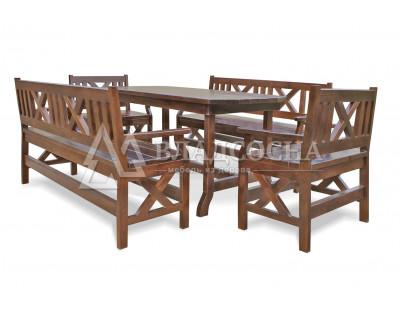 Набор мебели ДУБРАВА для веранд и террас (стол, 2 кресла, 2 лавки)